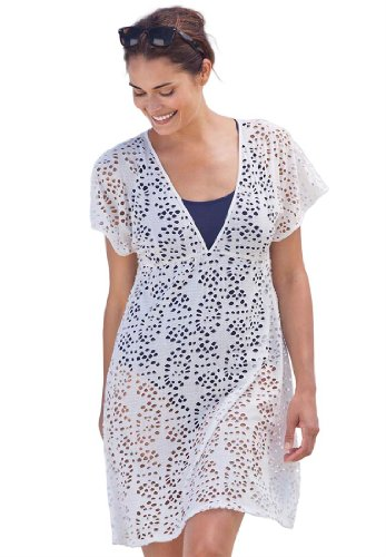 568da swimsuit cover up 51g1N8X0b9L Woman Within Plus Size Cover Up Swimwear In Cotton Eyelet Swim 365