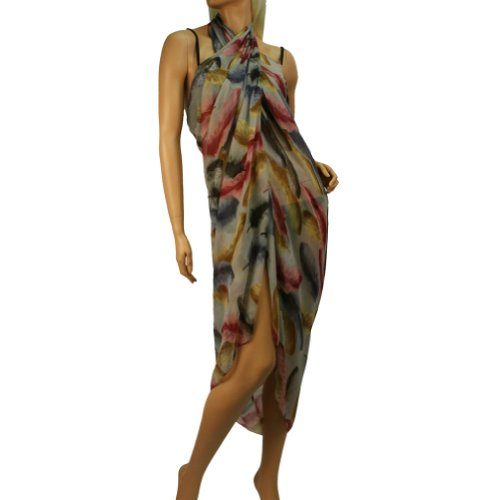 ea178 swimsuit cover up 41hNagkzUPL Bathing Suit Feather Pareo Cover Up Sarong Long Wrap Scarf Shawl 74 x 44 Gray