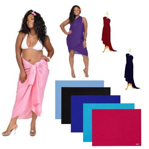 19ce3 swimsuit cover up 41oltMNkyuL Ladies Solid Plus Size FRINGELESS Swimsuit Cover up Sarong  by 1 World Sarongs in your choice of color