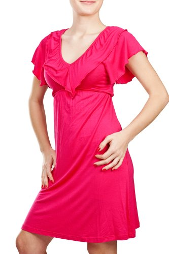 4cad4 swimsuit cover up 410jYzwyFyL Tropics Cap Sleeve V  Neck Frill Front Dress Swimsuit Cover Up