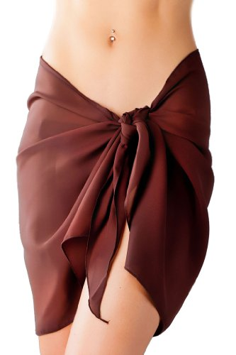 d88c7 swimsuit cover up 41GjAdjnnhL Sassy Sarongs Brown Swimsuit Sarong Cover Up with Built in Ties One Size